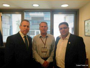 Bakan Gilad Erdan ve Col. Richard Camp ve Eyal Peretz Cobalt Ticaret Genel Müdürü
